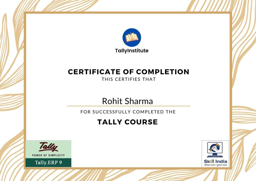 tally certificate